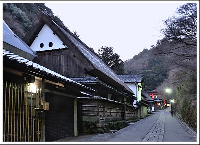 On the way to Jake's favorite tea shop.  You can see a little snow on the thatched roof.