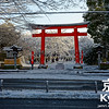 Passing Hirano Shrine on a Snowy Morning