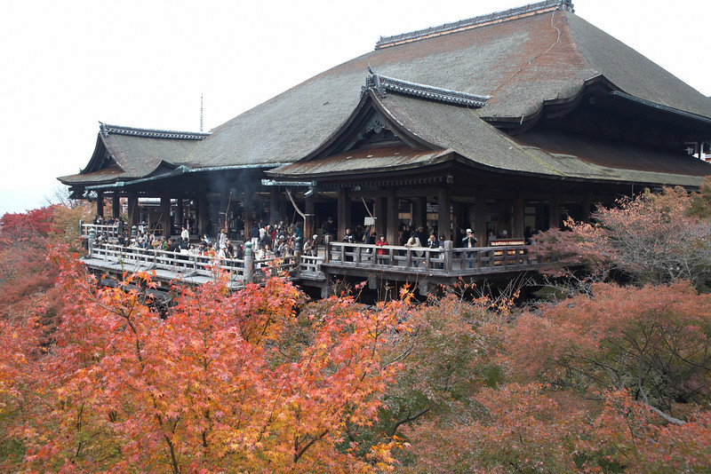 This is the main hall of the Kiyomizu-dera Temple from a walking path.
