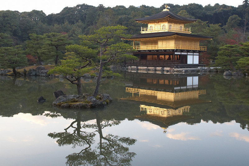 The Golden Pavilion seen across the Kyôkochi Pond (the Mirror Pond).