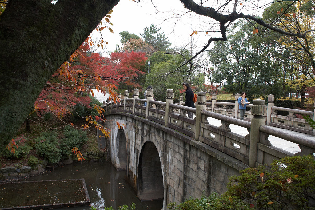 This bridge leads to the Nishi Otani Mausoleum.