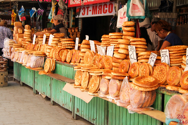 bread stand at Osh Bazaar Bishkek, Kyrgyzstan