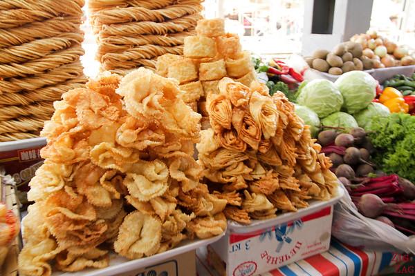 sweet crispy bread stand at Osh Bazaar Bishkek, Kyrgyzstan