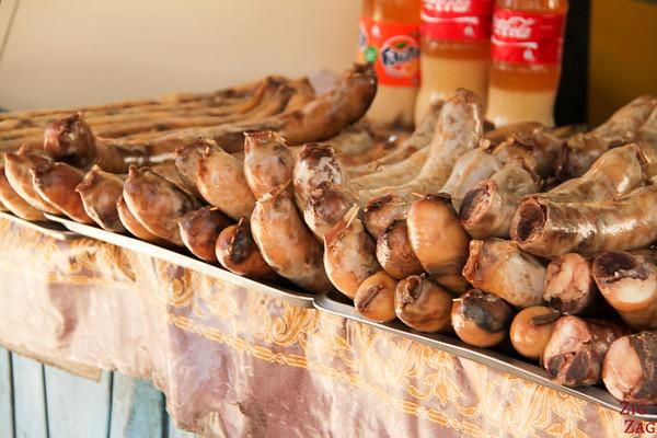 horse sausage at Osh Bazaar Bishkek, Kyrgyzstan