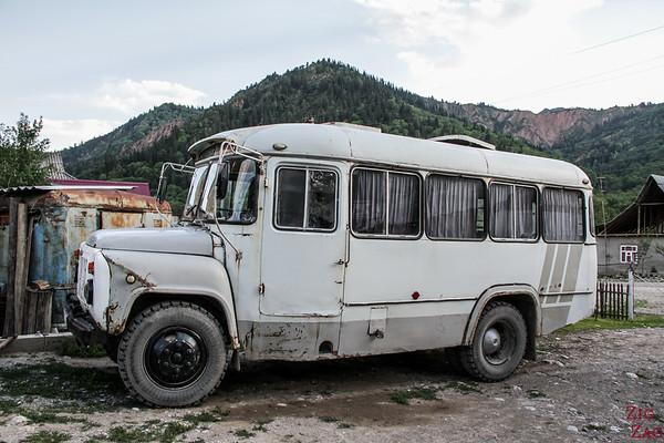 Bus in Arkit village, sary Chelek Reserve, Kyrgyzstan