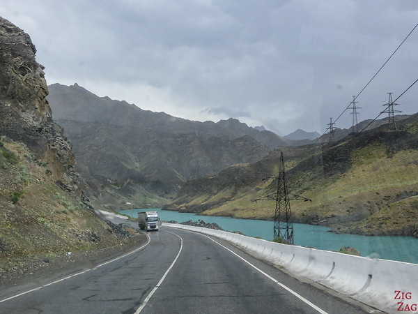 Driving alon Naryn river on Pamir Highway 1