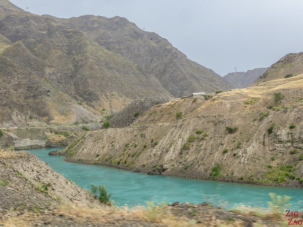Driving alon Naryn river on Pamir Highway in Kyrgyzstan 2