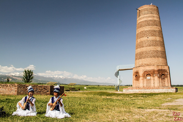 Kyrgyz guitar players at the Burana Tower, Kyrgyzstan