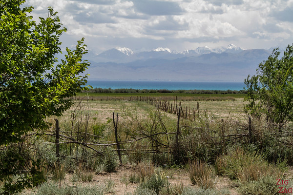 First glimpse at Issyk Kul, Kyrgyzstan