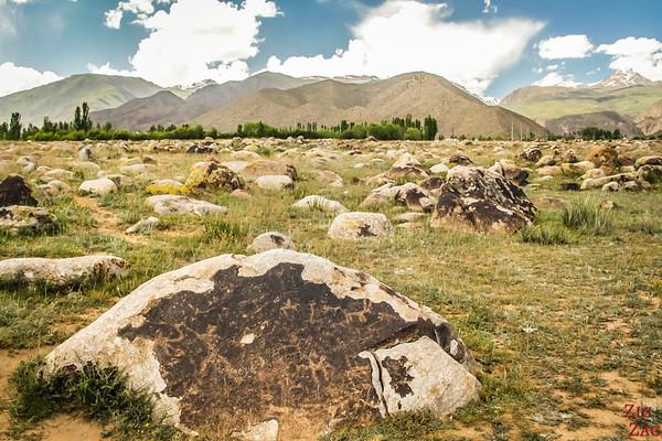 hunting scene at Cholpon-Ata Petroglyphs Kyrgyzstan