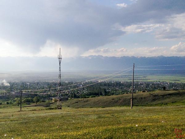 panorama over Karakol Kyrgyzstan