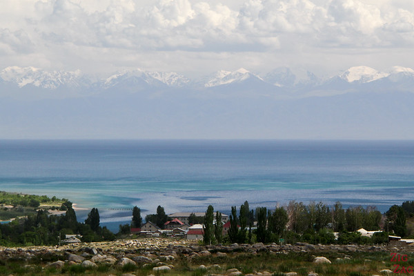 Lake Issyk Kul from Cholpon Ata Petoglyph site, Kyrgzystan