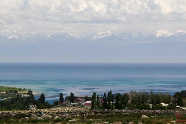 View of Lake Issyk Kul from Cholpon Ata Petroglyphs Kyrgyzstan