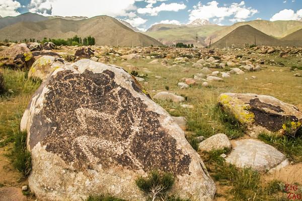 depicting animals at Cholpon-Ata Petroglyphs Kyrgyzstan