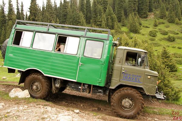 4WD russian truck to Altyn Arashan Kyrgyzstan