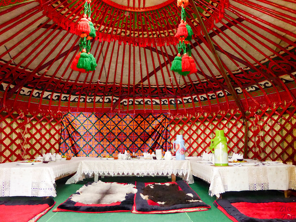 sitting arrangement in the dining yurt in the Valley of flowers, Kyrgzystan