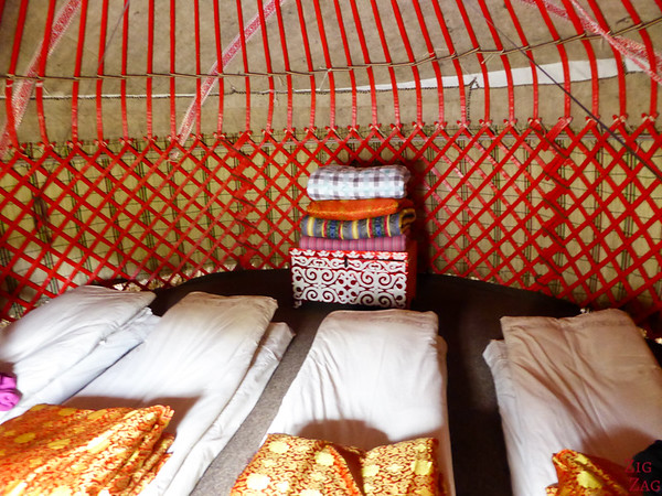 inside the sleeping yurt in the Valley of flowers, Kyrgzystan