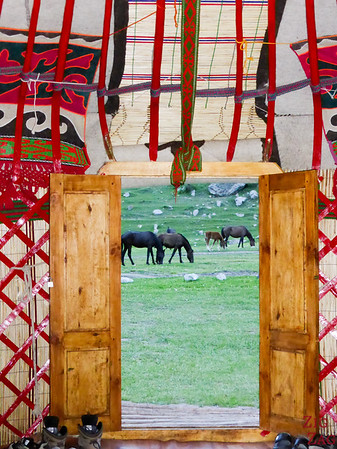 horses in the yurt door frame in the Valley of flowers, Kyrgzystan