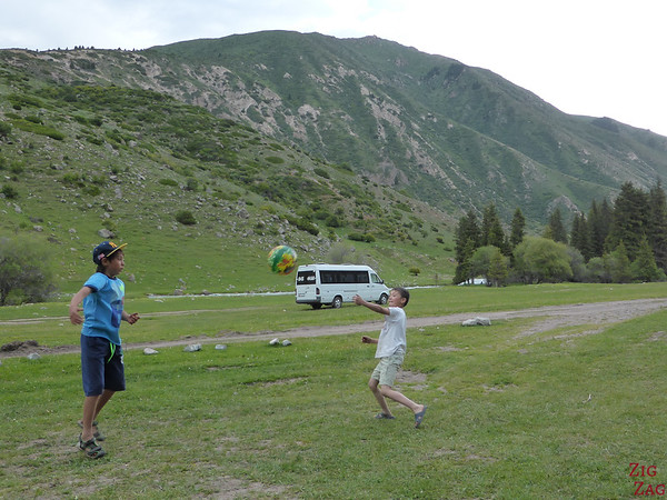 playing with the kids at the yurt camp in the Valley of flowers, Kyrgzystan
