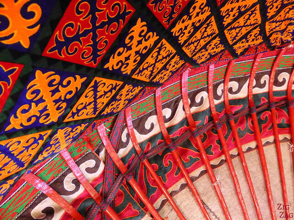 colors inside of Kyrgyz yurt