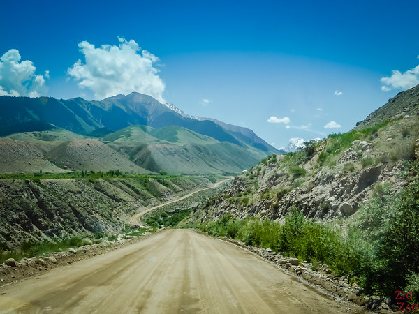 Road to Youri Gagarine monument at Lake Issyk Kul, Kyrgyzstan