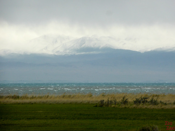 Misty atmosphere at Lake Issyk Kul, Kyrgyzstan