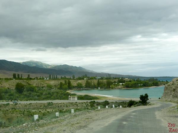 Tamga Beach at Lake Issyk Kul, Kyrgyzstan