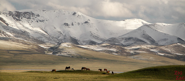 Surrounding mountains at Song Kul lake, Kyrgyzstan
