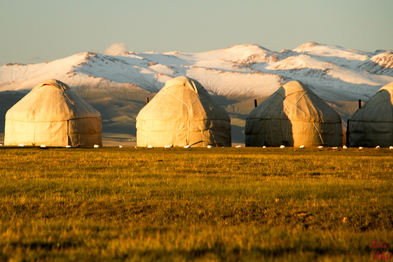 Yurts at Sunset,  Song Kul lake, Kyrgyzstan