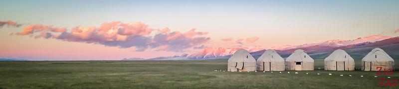 yurt camp at Sunset,  Song Kul lake, Kyrgyzstan
