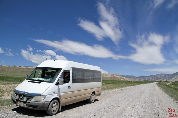 Bus from organized tour of Kyrgyzstan