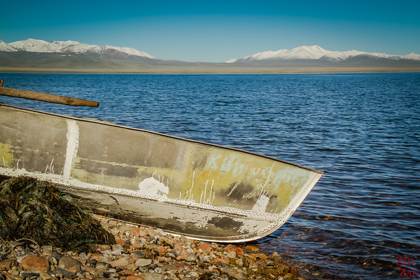 the clear water of  Song Kul lake, Kyrgyzstan