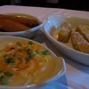 Carmelized bananas, fried polenta and mashed potatoes