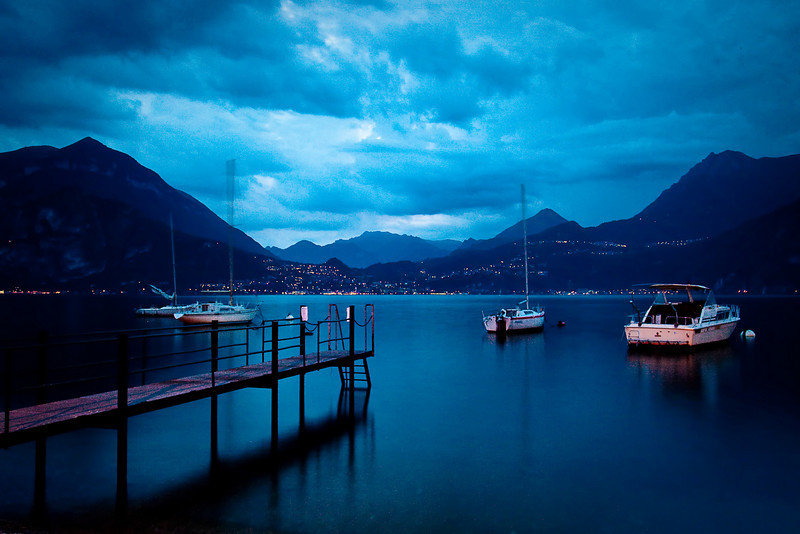 VARENNA HARBOR AT TWILIGHT