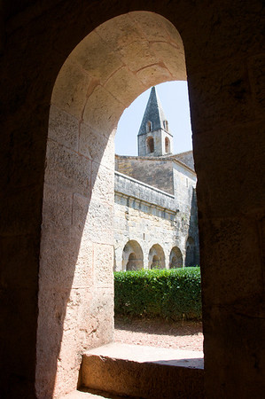 Peaking out the vaulted windows to the Abby's steeple tower.