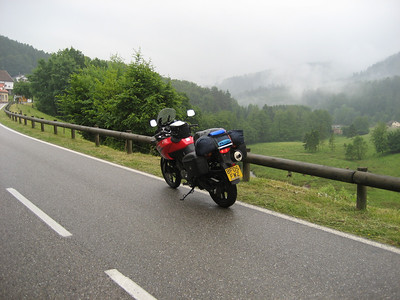 Just outside Strasbourg, wet ride through Northern France