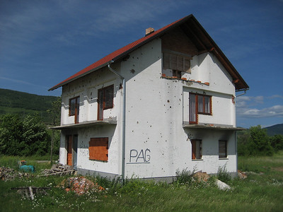 A bad war happened here in Croatia a few years ago, the evidence can still be seen. Notice all the bullet holes