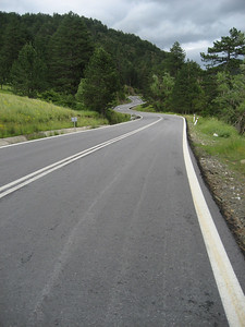 Some superb biking roads in Northern Greece, look at the tarmac snaking away. It went on like this for miles on end