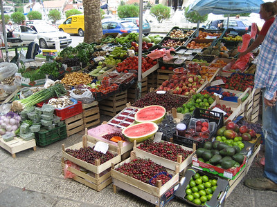 Kotor Town fruit and Veg market, what a choice. I ate so many Cherries i was nearly sick !!!!