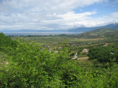 Dropping down to Lake Ohrid on the Albanian side