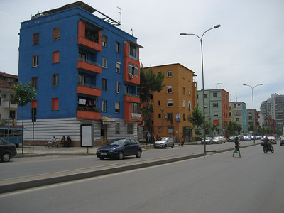 Tirana the capital of Albania. The mayor wanted all of the old Soviet era grey tower blocks painted in bright colours. It really works and gives the city a happy feel. The traffic was really chaotic in Tirana but it was a nice city