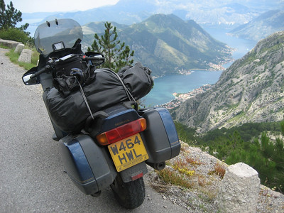 What a view !!!!!! like being in an aeroplane, that is the Kotor Inlet in Montenegro below. Look how close the bike is to the edge, and look at the drop. I felt very nervous wheeling the bike in for this shot, one slip and bye bye bike !!!!