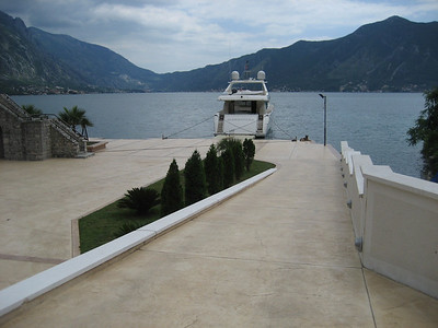 This is the way to live !!!!! superyacht moored at the end of the garden, on Kotor Inlet a world heritage site