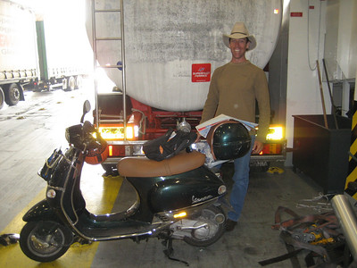 I met Craig a really cool Australian on the Patras to Bari ferry. He had travelled all around scandanavia, and Eastern Europe and Greece on this 125cc Vespa Scooter which cost 135 pounds on Ebay as a damaged repairable. This side looks good but the other side was really badly smashed he was then heading off to Morrocco. When he got back to England he was going to sell the scooter back on Ebay, and then back to Australia VERY COOL GUY