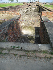 The main stairs to the gas chambers at Aushwitz