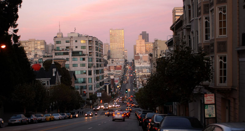 Another view of a San Francisco street near the hotel.  The picture doesn't do justice to the hills.