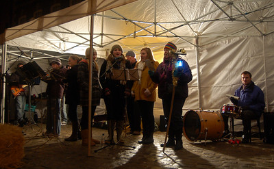 Carol singers on Castle Square