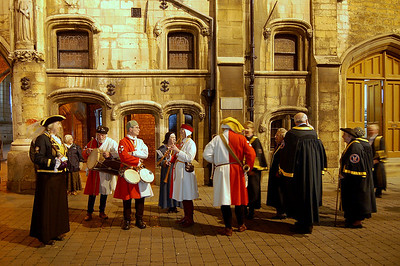The Town Crier, medieval musicians, the Mayor and civic party getting ready for the parade to the switching on ceremony