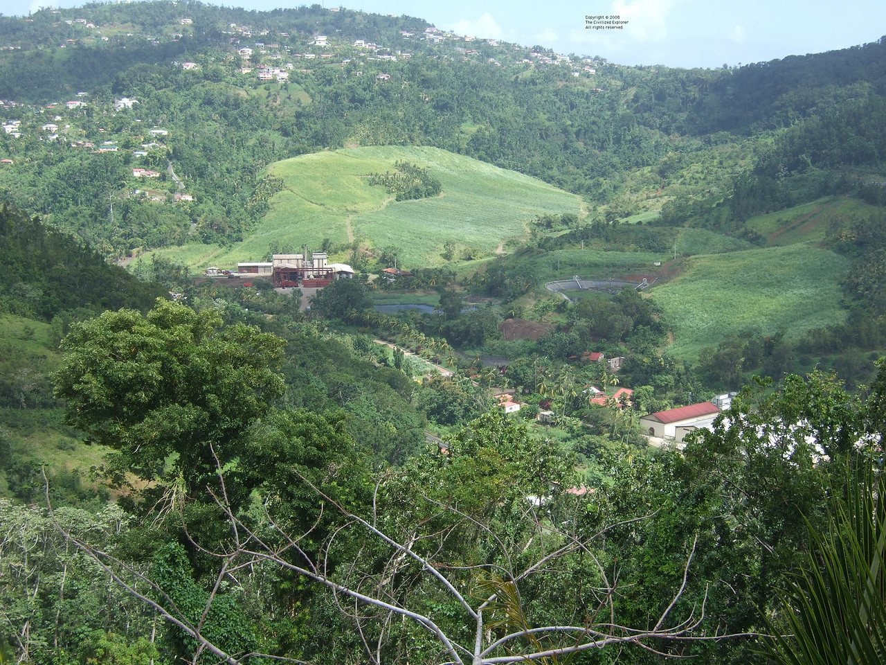 La Mauny Distillerie seen from an adjacent hill.