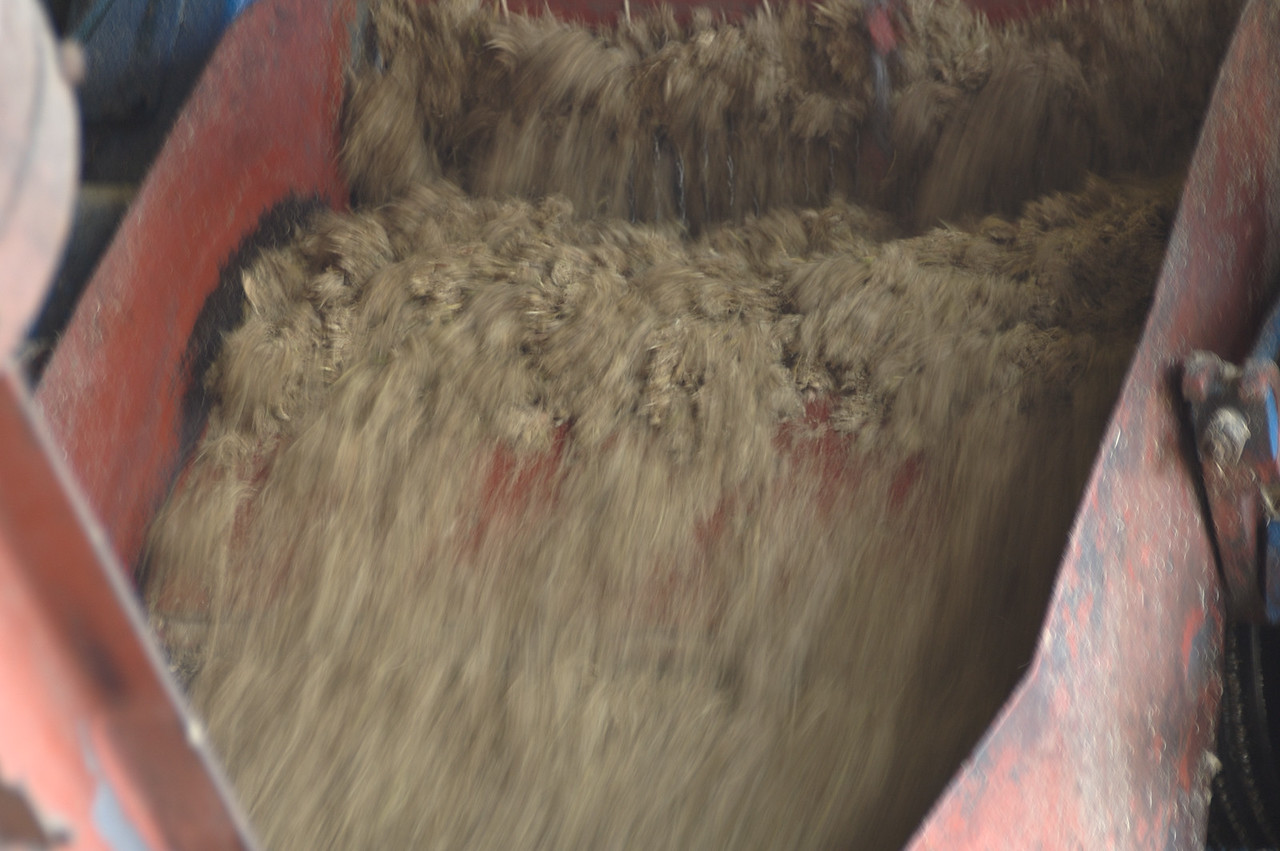 The slurry of water and ground cane.